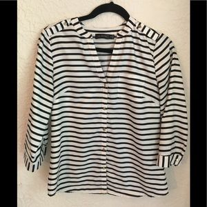 The Limited Striped Blouse with Gold Buttons